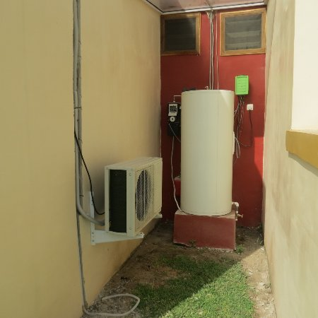fan, air conditioners and solar panels for hot water