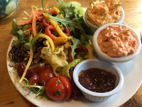 The Green Way Cafe: Cashew and Carrot Pate. Red Pepper pate. The salads are the best salads I've ever eaten.