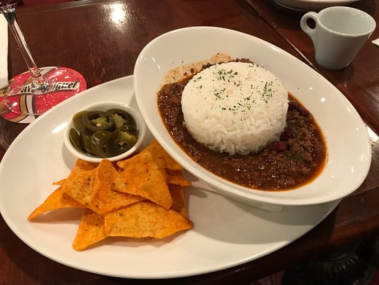 The Canny Man: Their chili - love it :-) The little bowl? Jalapenos...