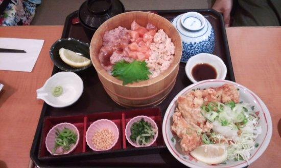 Higashiura-cho, Japón: 唐揚げ付きのセット、美味しい