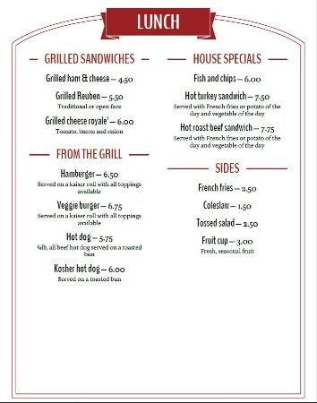Adirondack Mountain Coffee Cafe: Lunch menu