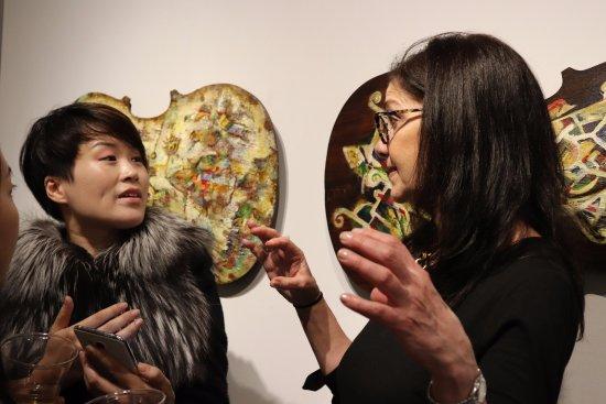 Agora Gallery: Director Eleni Cocordas with artist  Eunhyue Shin