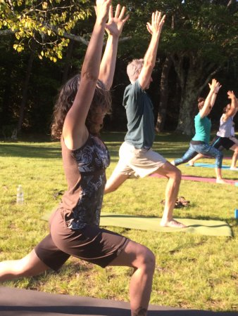Thomas, WV: Warrior 1 Yoga in the Park during summer and into Fall. Blackwater Falls State Park