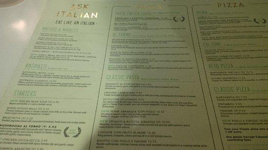 Ask Italian - Truro: Menu