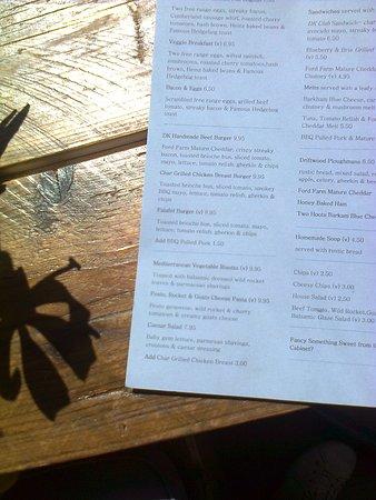 Highcliffe, UK: Menu at Driftwood Cafe