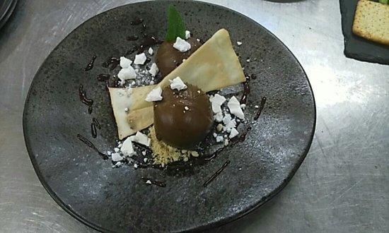 Tudeley, UK: Chocolate & Avocado mousse, tuile biscuit and meringue crumbs