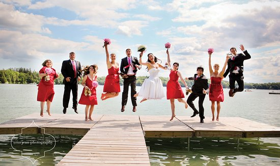 Elkhart Lake, WI: Wedding Party on Siebkens Pier