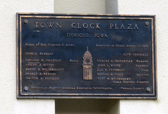 a commemorative plaque for the Town Clock Plaza in Dubuque