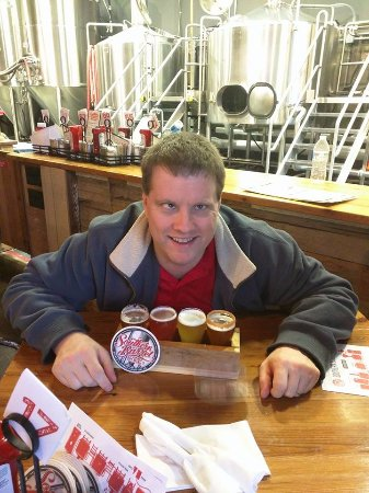 Bluffton, SC: Husband with flight of beers