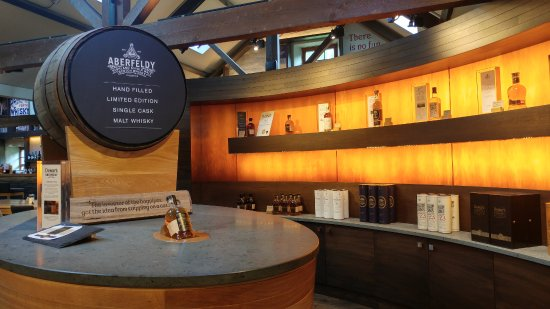 The distillery Shop at Dewar's Aberfeldy Distillery, showing the 'fill your own bottle' cask.