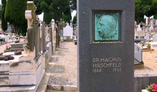 นีซ, ฝรั่งเศส: Headstone of Dr. Magnus Hirschfeld with a bronze bas-relief portrait by sculptor Arnold Zadikow.