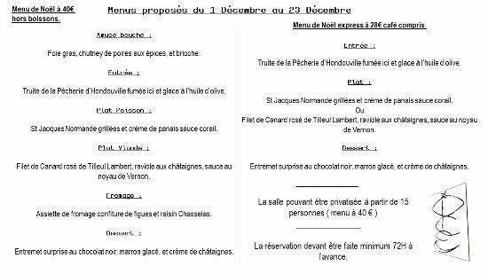 Le Neubourg, France: Menu d'avant Noël