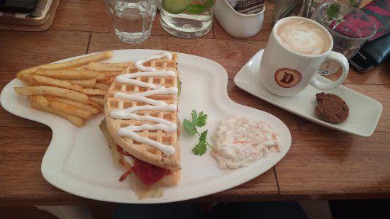 Diesel Cafe: Waffle sandwich and cappucino.