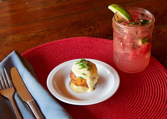 Playa Grande, Costa Rica: Fried Mac-n-Cheese Ball with a Watermelon Basil Spritzer - Happy Hour Menu