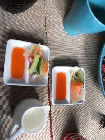 Breakfast setup for Cambodian breakfast