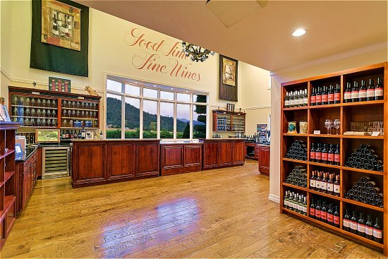 Grants Pass, OR: The Troon Vineyard tasting room with beautiful views of the Applegate Valley and the Siskiyou Mt
