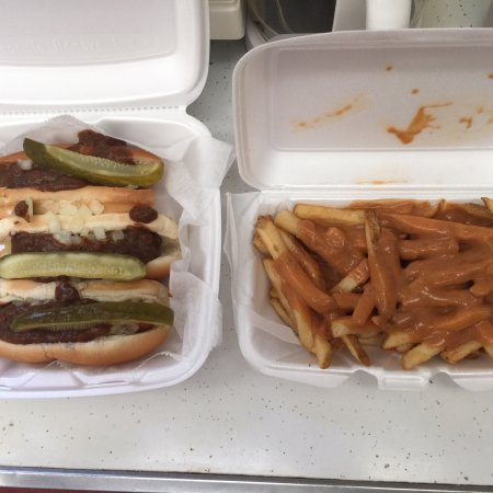 Butler, PA: Three hots with everything; pickle also and fries accompanied by orange gravy!!!