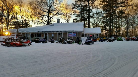 Buckhorn Resort Motel and Lodges: Ample parking for your vehicle, trailer, and sled.  Miles of groomed trails just off the propert