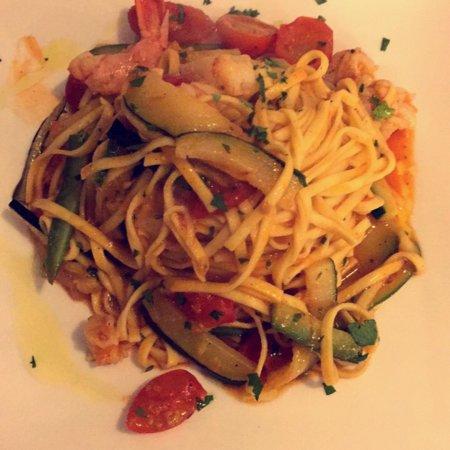 Shrimp and zucchini pasta, and tiramisu! Highly recommend both :)