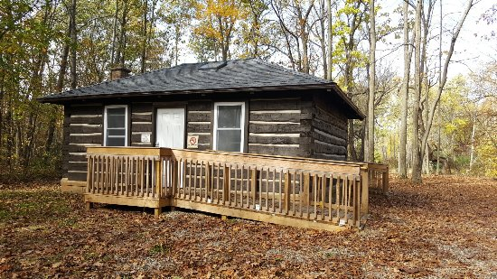 Fort Custer Recreation Area: Front View of Rustic Riverside Cabin