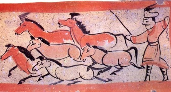Jiayuguan, China: The painting brick from under ground tomb dating from the 2nd -5th century