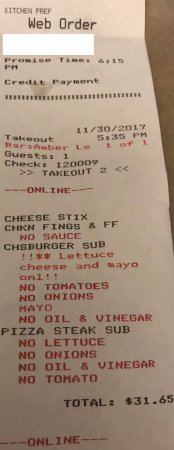 Enola, Pensilvania: Online order receipt