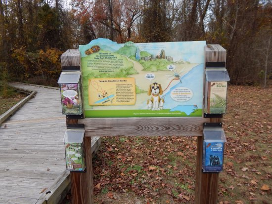 South Mills, Kuzey Carolina: Dismal swamp TRACK trail entrance sign