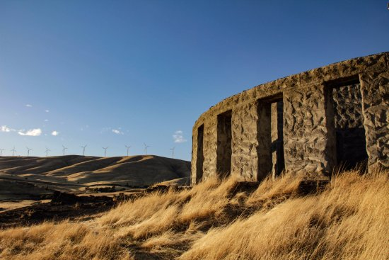 Maryhill Stonehenge with wind turbines in the background, 10-13-17.