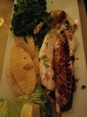 Elmont, NY: Another version of the filet bronzino with special sauce! Delish!