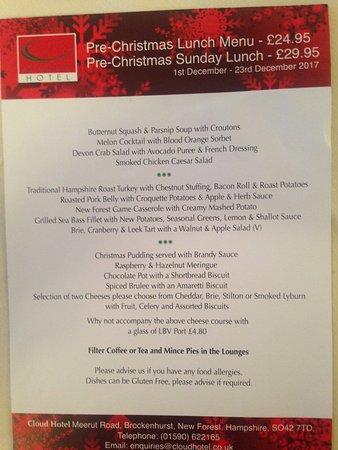 The Cloud Hotel: Christmas menu