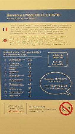 Eklo Hotels Le Havre : Regolamento-Prezzi