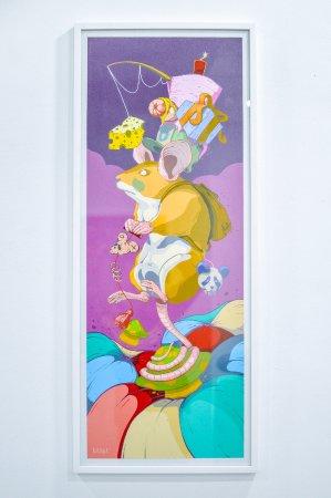 Obra de Dhani Barragán. BUEN VIAJE Acrílico sobre papel Canson 370g 35 x 95 cm 2017