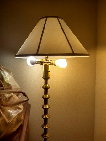 Wyndham Indianapolis West : An odd decorating choice - mismatched light bulbs protrude from the shade casting a weird glow.