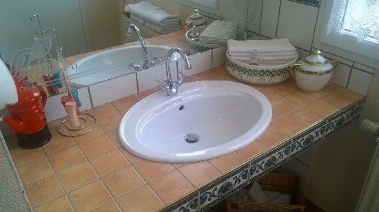 Marnand, França: Toilettes impeccablement propres. Vraies serviettes-éponges individuelles pour les mains.