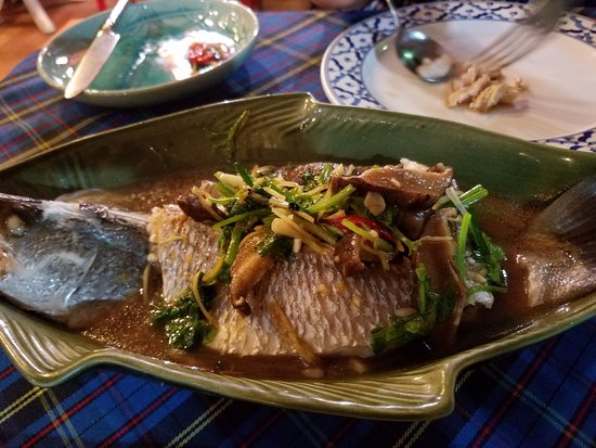 Bai Tong: Steamed sea bass with ginger sauce