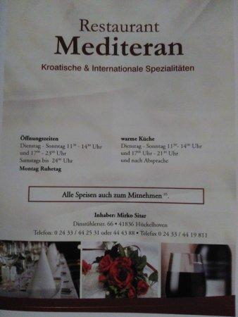Huckelhoven, Germany: Kleine Speisenkarte zum mitnehmen