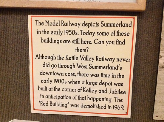 Summerland, Canada: Model train exhibit info