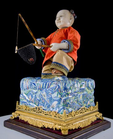 Evanston, IL: Imperial Alabaster Automaton 'Fishing Boy and His Catch'  Guangzhou, China, late 18th Century