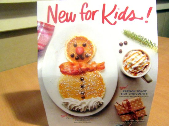 Christmas Holiday Kid Treast Menu, IHOP