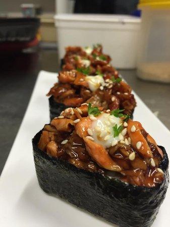 teriyaki salmon sushi