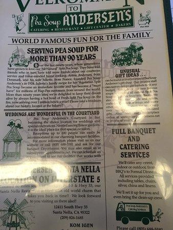 Бюллтон, Калифорния: Front of menu