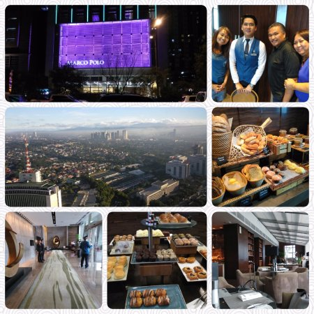 Marco Polo Ortigas Manila: Photo Montage of our Stay. Front Evening Photo of Hotel. View from our Room. Restaurant Desserts
