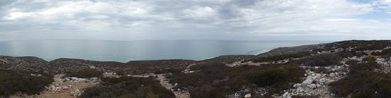 Lookingout over the Great Australian Bight from Eucla Caravan Park.
