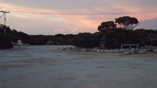 A storm brewing over Eucla Caravan Park.