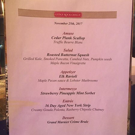 Ledge Rock Grille: Chef JT and team are doing amazing things in the kitchen right now. This tasting menu from Nov.