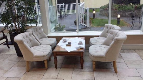 clybaun hotel sitting area overlooking the outdoor garden - Garden Furniture Galway