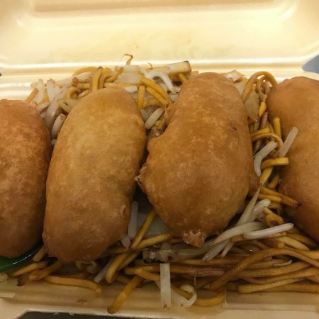 Sketty, UK: fried rice and chicken balls  Chow Mein and chicken balls