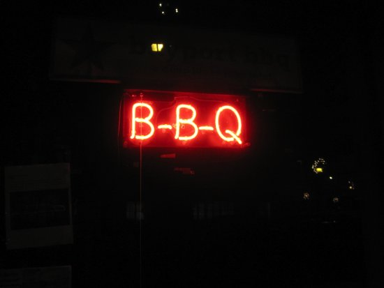 Bayport, MN: BBQ sign in the window
