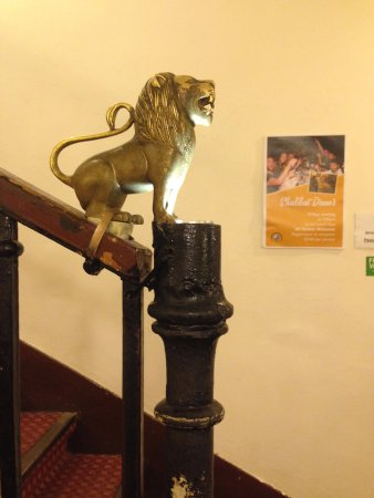 The Jerusalem Hostel: The hotel has many nice details like this little lion on the stairs.
