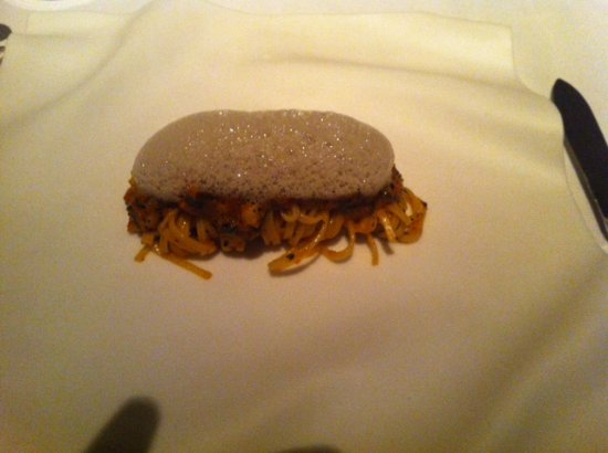 Melisse: Pasta with lobsters and truffle foam ( I think) do not remember exactly